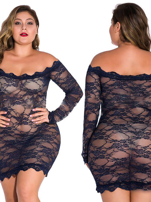 Lace Sleeves Short Plus Size Dress