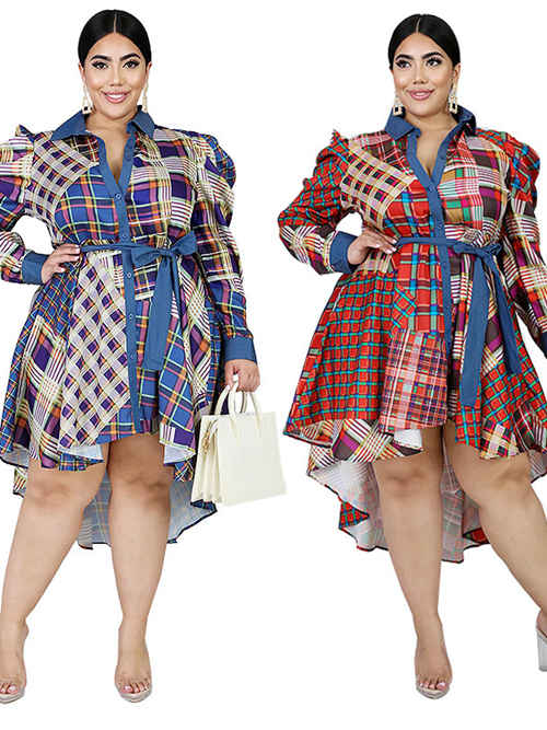 High Low Plaid Star Floral Sleeves Plus Size Dress