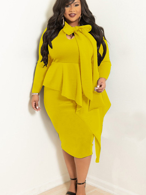 Short Bowknot Sleeves Plus Size Dress