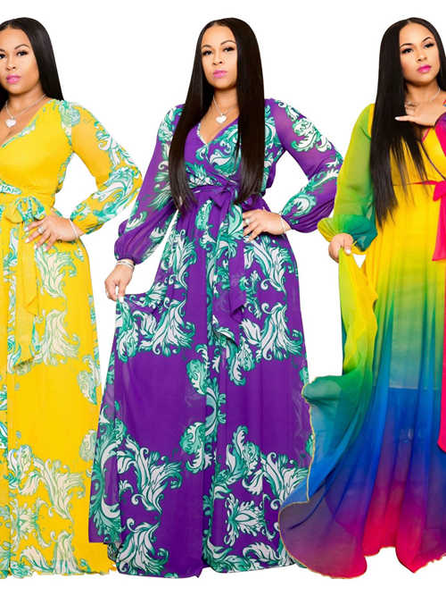 Digital Printing Chiffon Sleeves Plus Size Dress