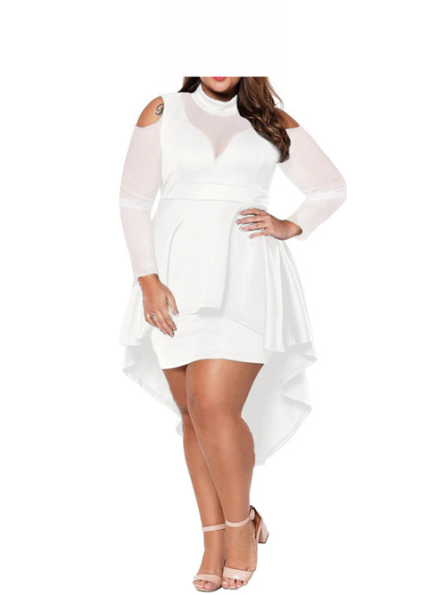 High Low Jewel Satin Tulle Sleeves Plus Size Dress