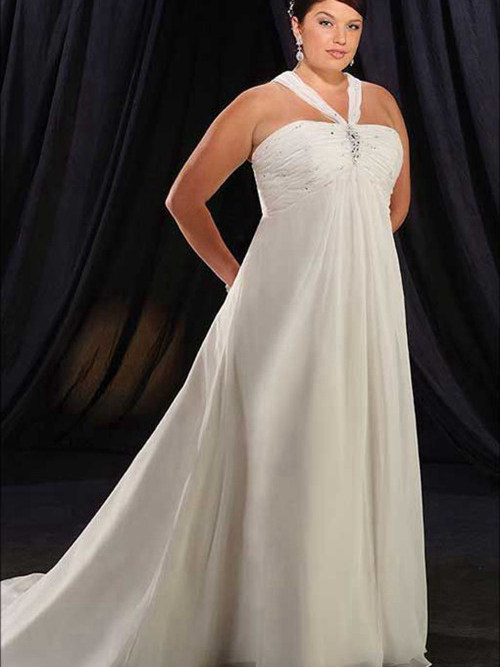 A-line Halter Court Train Chiffon Plus Size Bridal Dress