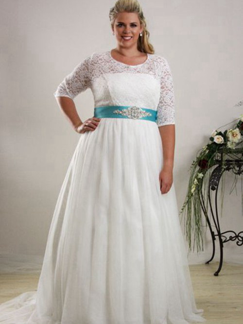 A-line Jewel Court Train Chiffon Lace Plus Size Wedding Dress