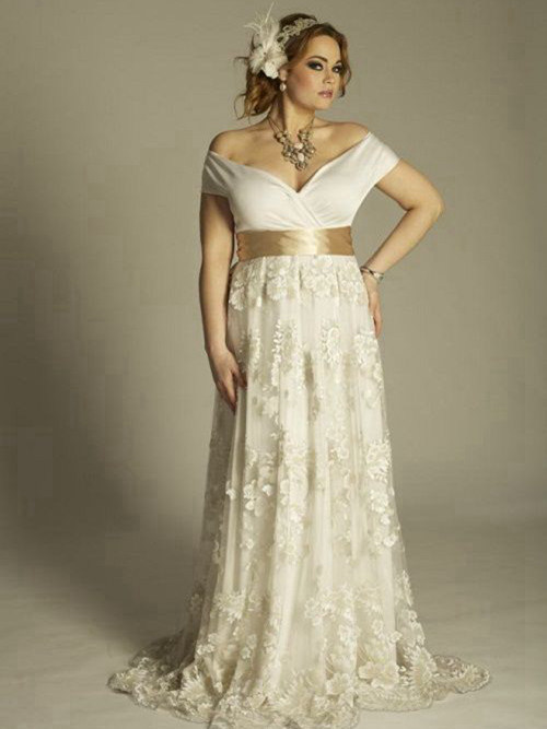 A-line Off Shoulder Brush Train Lace Plus Size Wedding Dress