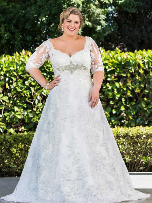 A-line V Neck Sweep Train Lace Plus Size Wedding Dress
