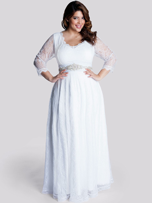 A-line Lace Sleeves Plus Size Wedding Dress Beads
