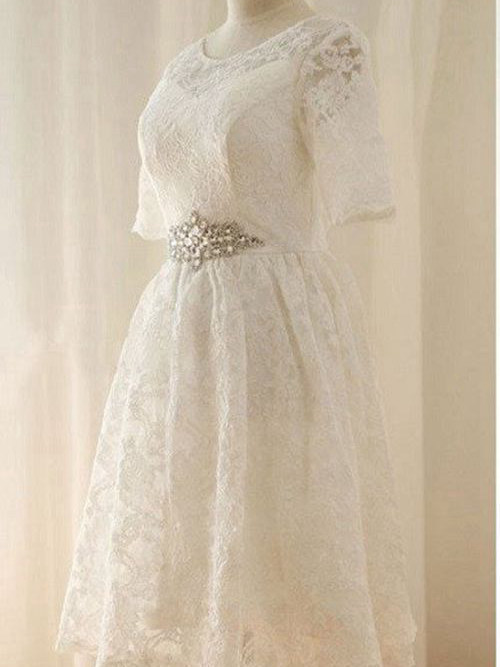 A-line Scoop Knee Length Lace Short Sleeves Bridal Dress