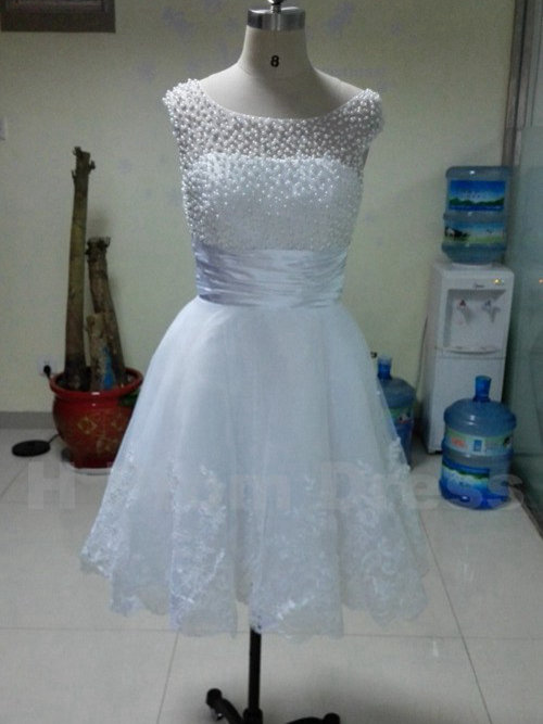 A-line Scoop Knee Length Organza Wedding Dress Pearls