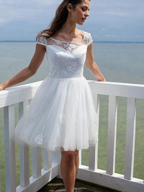A-line Scoop Knee Length Organza Wedding Dress