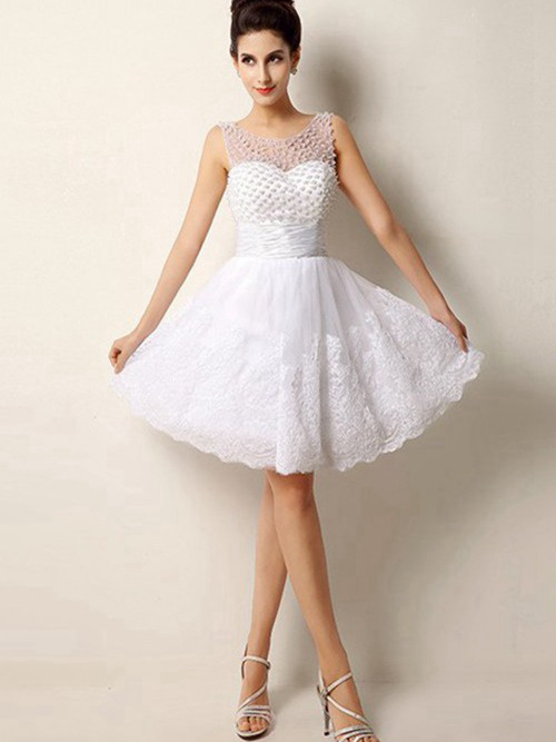 A-line Scoop Knee Length Lace Wedding Dress