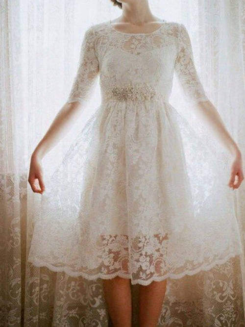 1/2 Sleeves A-line Scoop Lace Tea Length Wedding Dress