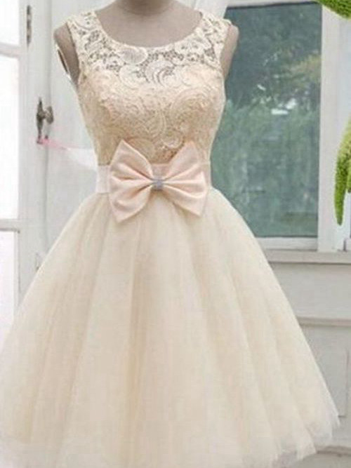 A-line Scoop Knee Length Organza Lace Wedding Dress