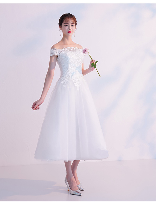 A-line Off Shoulder Tulle Tea Length Bridal Dress Applique