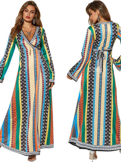 A-line V Neck Polyester Spandex African Traditional Dress