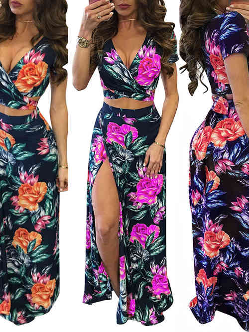 Sheath V Neck 2 Piece Floral Traditional Dress