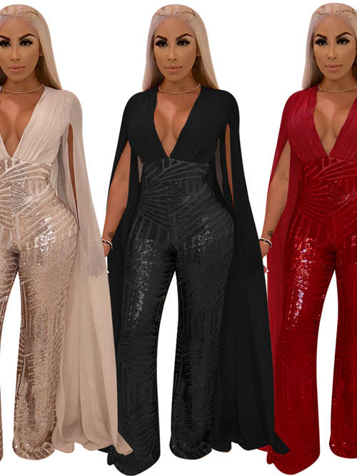 Hot V Neck Chiffon Sleeves Sequins African Jumpsuit