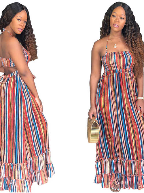 Sheath Halter African Print Traditional Dress