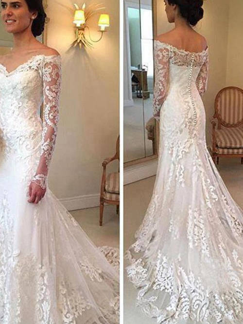 A-line Off Shoulder Court Train Lace Wedding Gown Long Sleeves