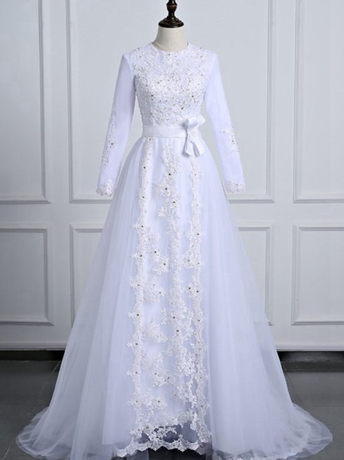 A-line Jewel Brush Train Organza Bridal Gown Lace