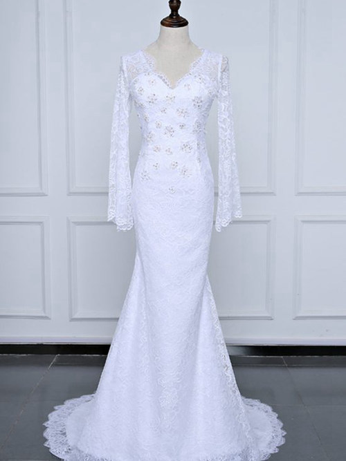 Mermaid V Neck Sweep Train Lace Bridal Gown