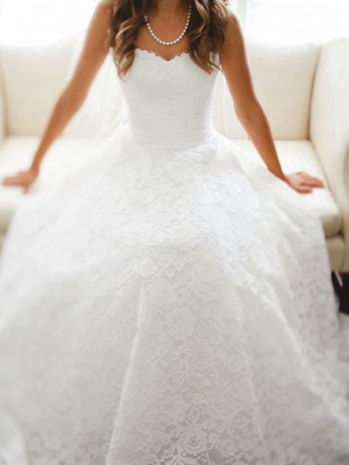 A-line Sweetheart Sweep Train Lace Wedding Dress