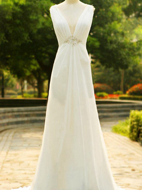 A-line V Neck Sweep Train Chiffon Wedding Dress Beading