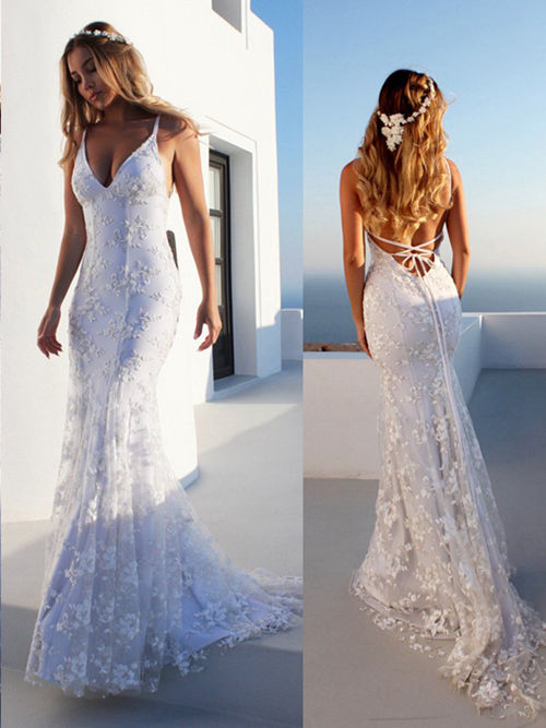Mermaid Spaghetti Straps Lace Wedding Gown 2019