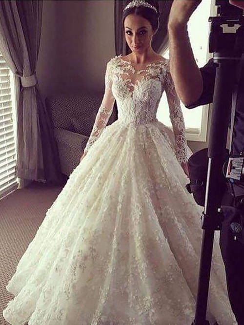 Ball Gown Scoop Lace Sleeves Bridal Wear 2019