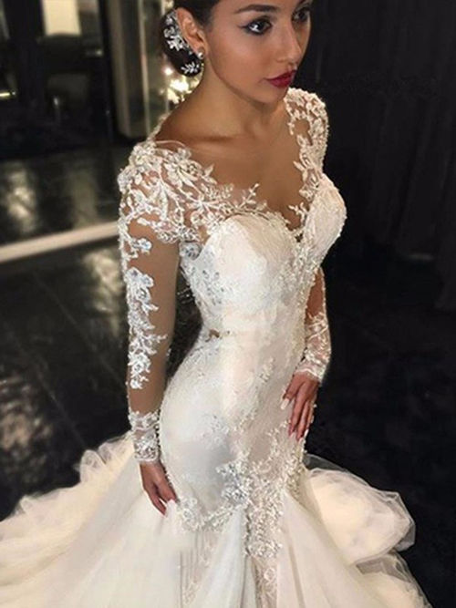 Mermaid V Neck Lace Sleeves Tulle Bridal Gown 2019