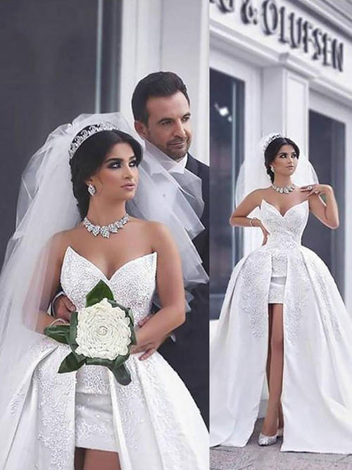 Ball Gown Sweetheart Satin 2 in 1 Bridal Wear 2019 Applique