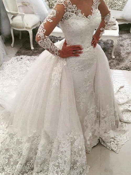 Ball Gown V Neck Lace Sleeves 2 in 1 Bridal Wear 2019