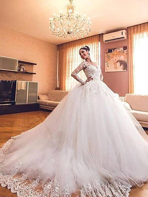 Ball Gown V Neck Lace Sleeves Tulle Bridal Wear 2019