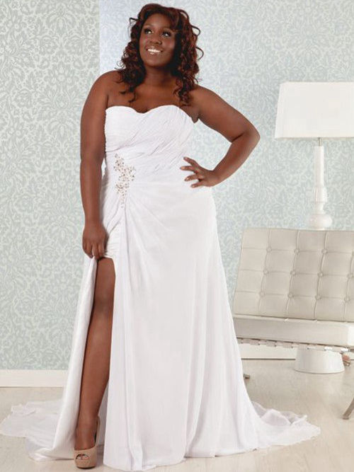 A-line Sweetheart Court Train Chiffon Bridal Dress