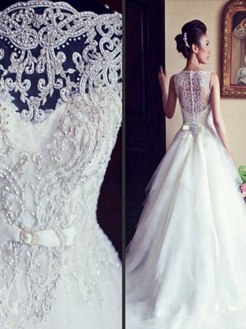 A-line High Neck Sweep Train Tulle Lace Wedding Dress