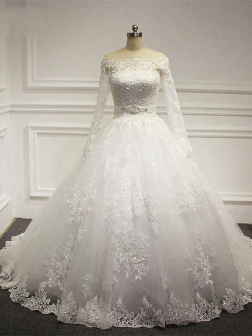 A-line Off Shoulder Sweep Train Lace Bridal Gown Beads