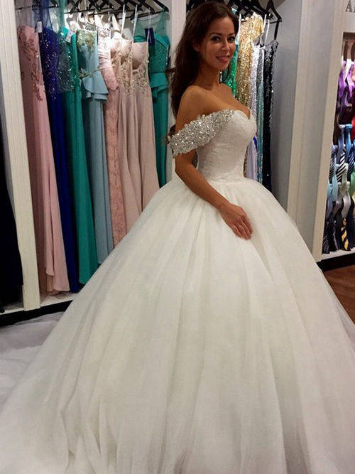 Ball Gown Off Shoulder Court Train Tulle Wedding Wear Beads