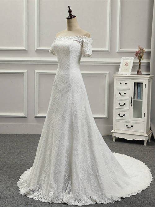 A-line Off Shoulder Brush Train Lace Sleeves Wedding Wear