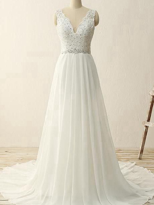 A-line V Neck Sweep Train Chiffon Wedding Dress Beads