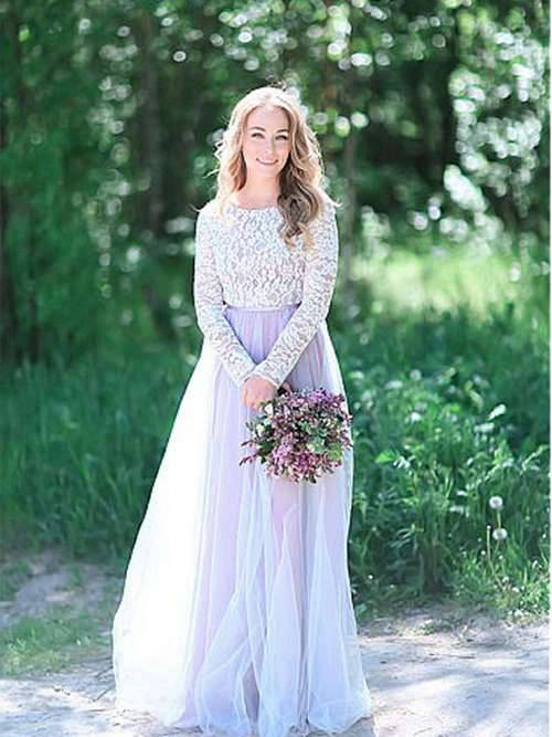 A-line Scoop Floor Length Tulle Lace Sleeves Wedding Dress