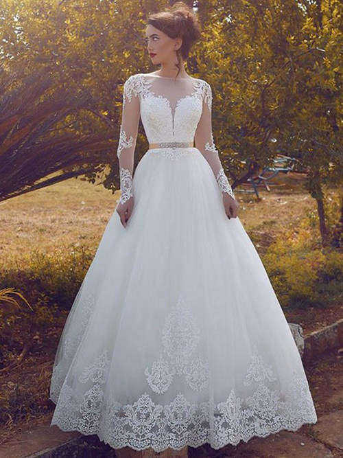 A-line Sheer Floor Length Lace Sleeves Organza Bridal Wear