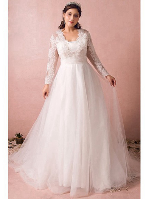 A-line Long Lace Sleeves Organza Plus Size Bridal Wear