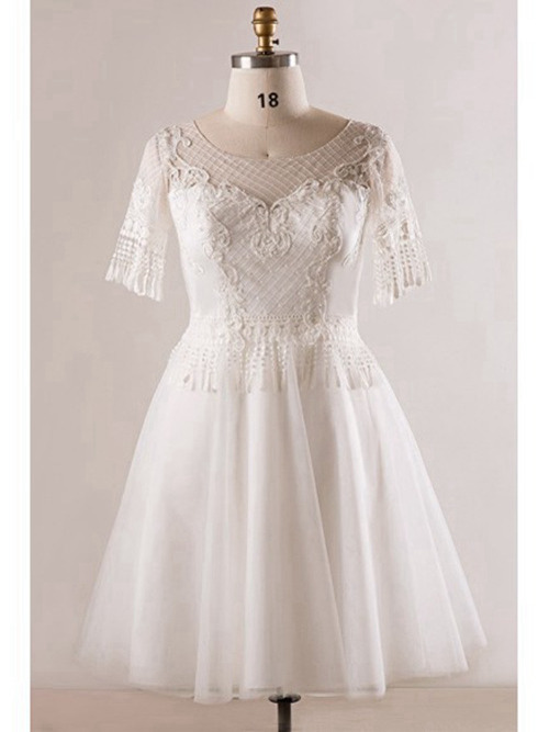A-line Scoop Knee Length Organza Lace Sleeves Wedding Wear