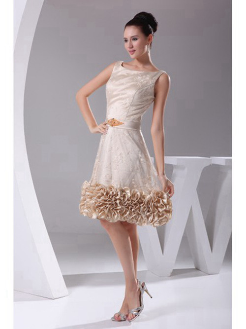 A-line Scoop Knee Length Champagne Satin Bridal Dress Ruffles