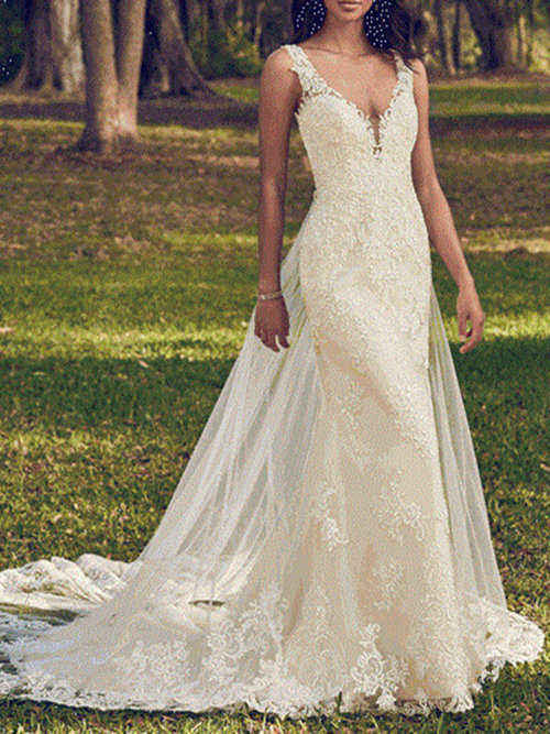 Mermaid V Neck Long Lace Bridal Dress