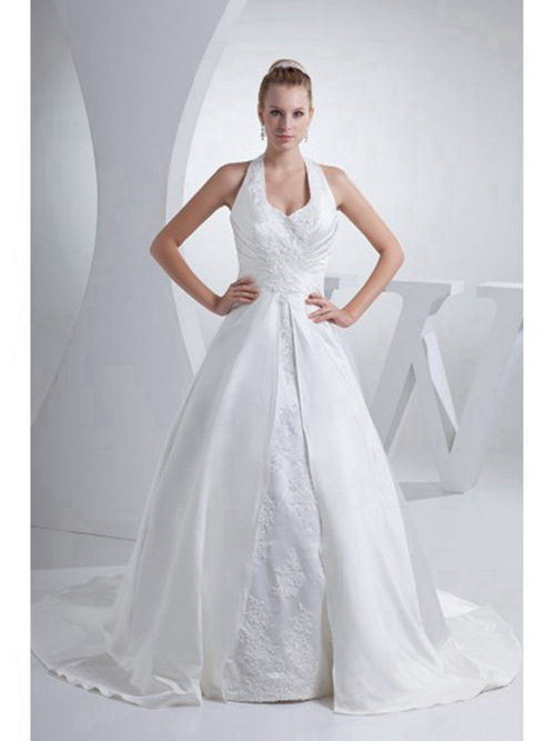 A-line Halter Satin Wedding Dress Applique