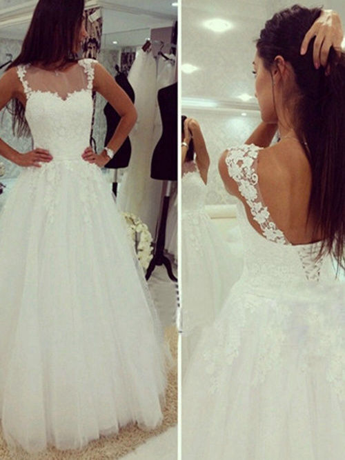 A-line Sheer Tulle Lace Wedding Gown