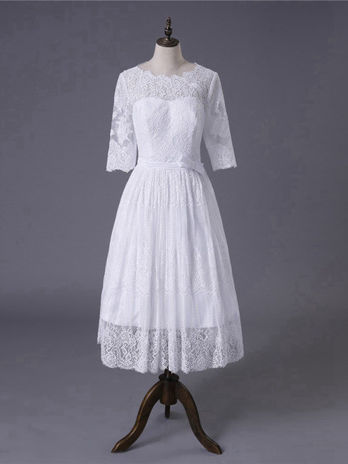 A-line Scoop Tea Length Lace Sleeves Bride Dress