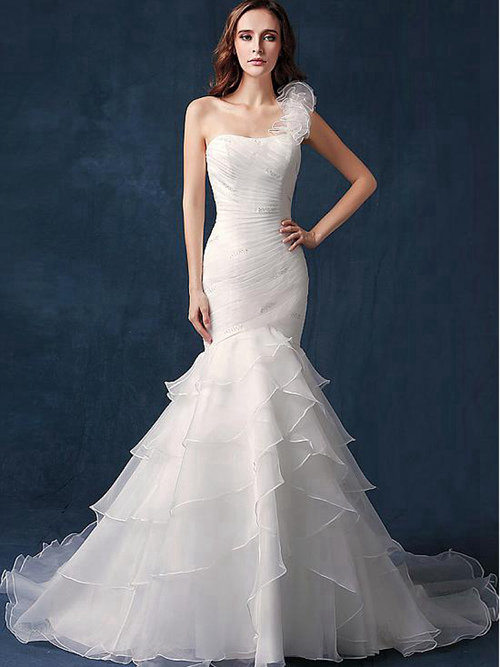 Mermaid One Shoulder Organza Bridal Gown Frill