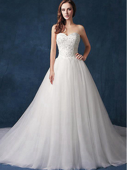 A-line Sweetheart Tulle Wedding Wear Beads