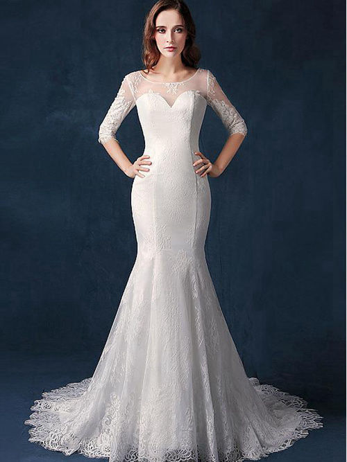 Mermaid Sheer Lace Sleeves Bridal Dress